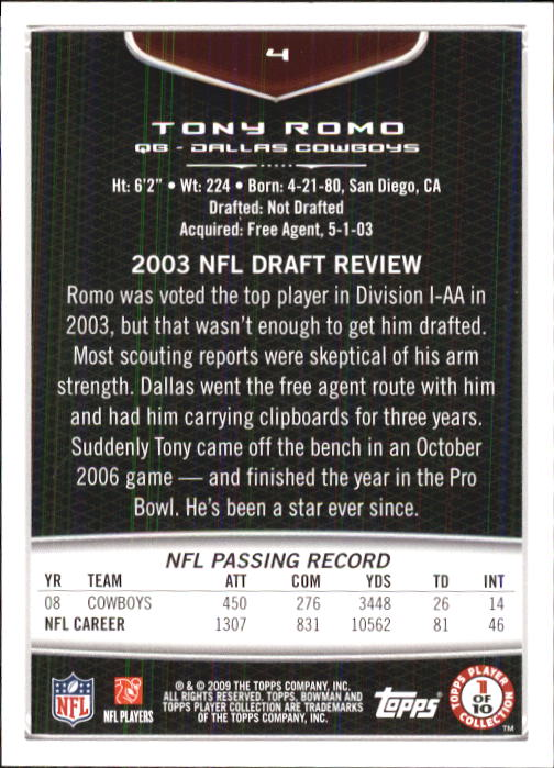 2009 Bowman Draft #4 Tony Romo back image