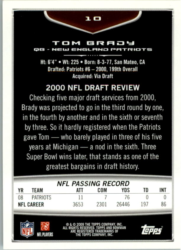 2009 Bowman Draft #10 Tom Brady back image