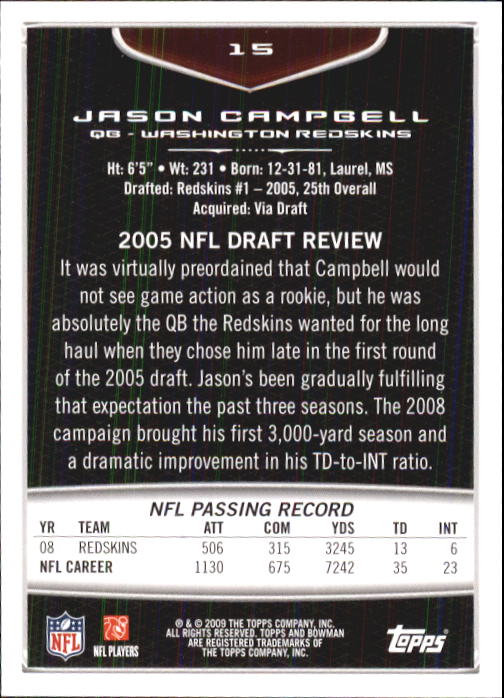 2009 Bowman Draft #15 Jason Campbell back image