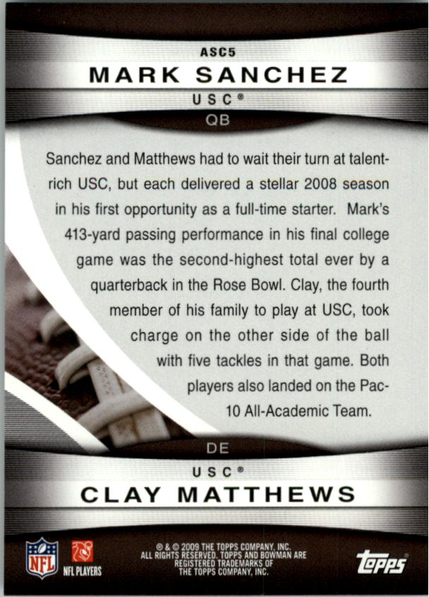 2009 Bowman Draft Rookie All-Stars Combos #ASC5 Mark Sanchez/Clay Matthews back image