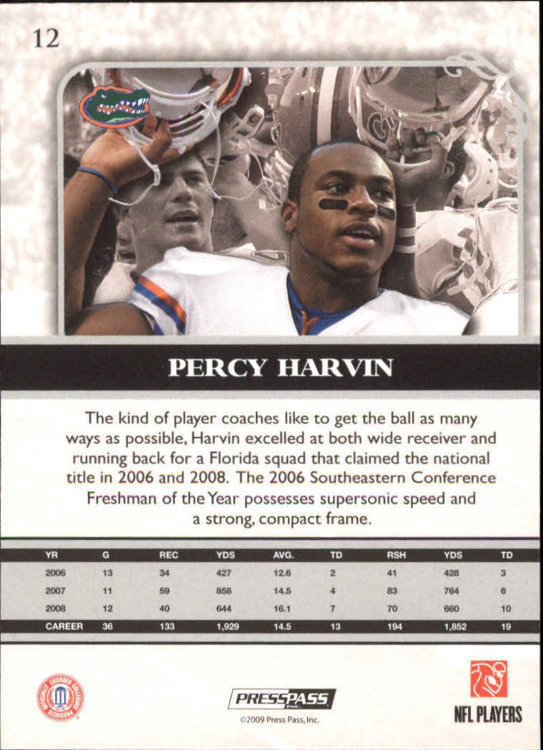 2009 Press Pass Legends #12 Percy Harvin back image