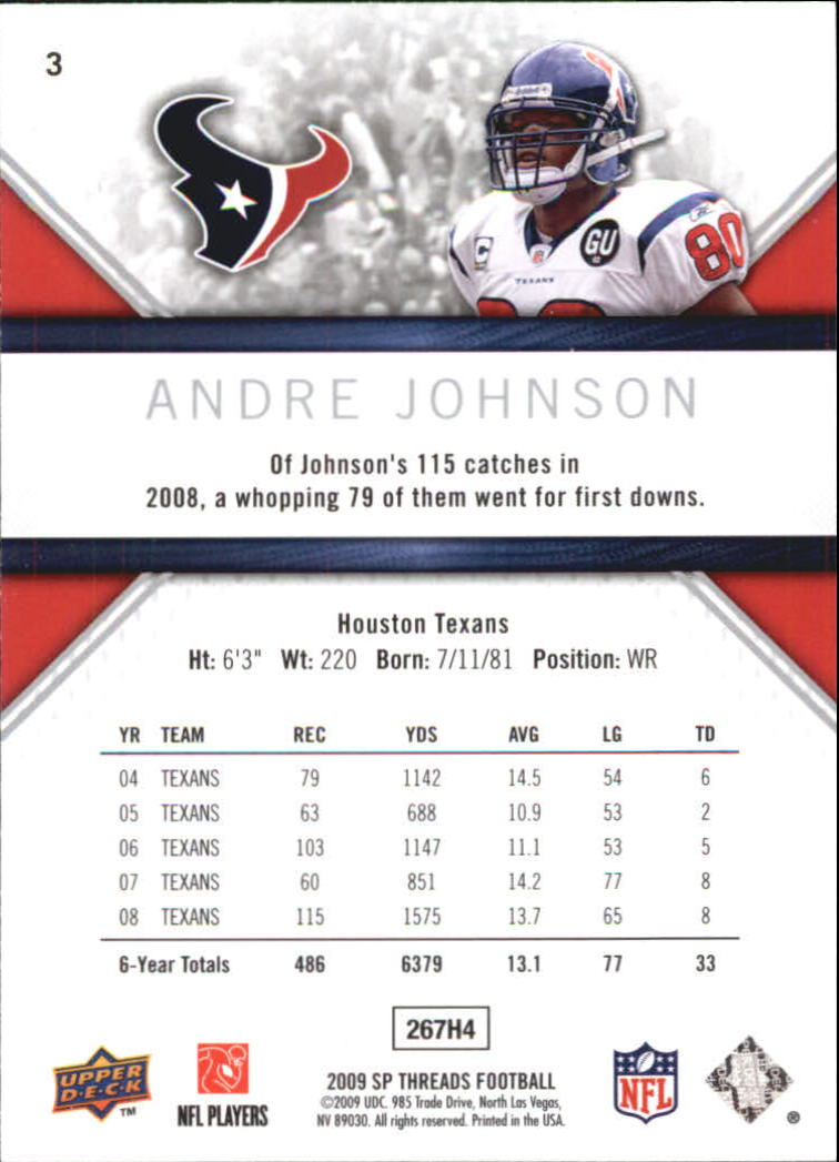 2009 SP Threads #3 Andre Johnson back image