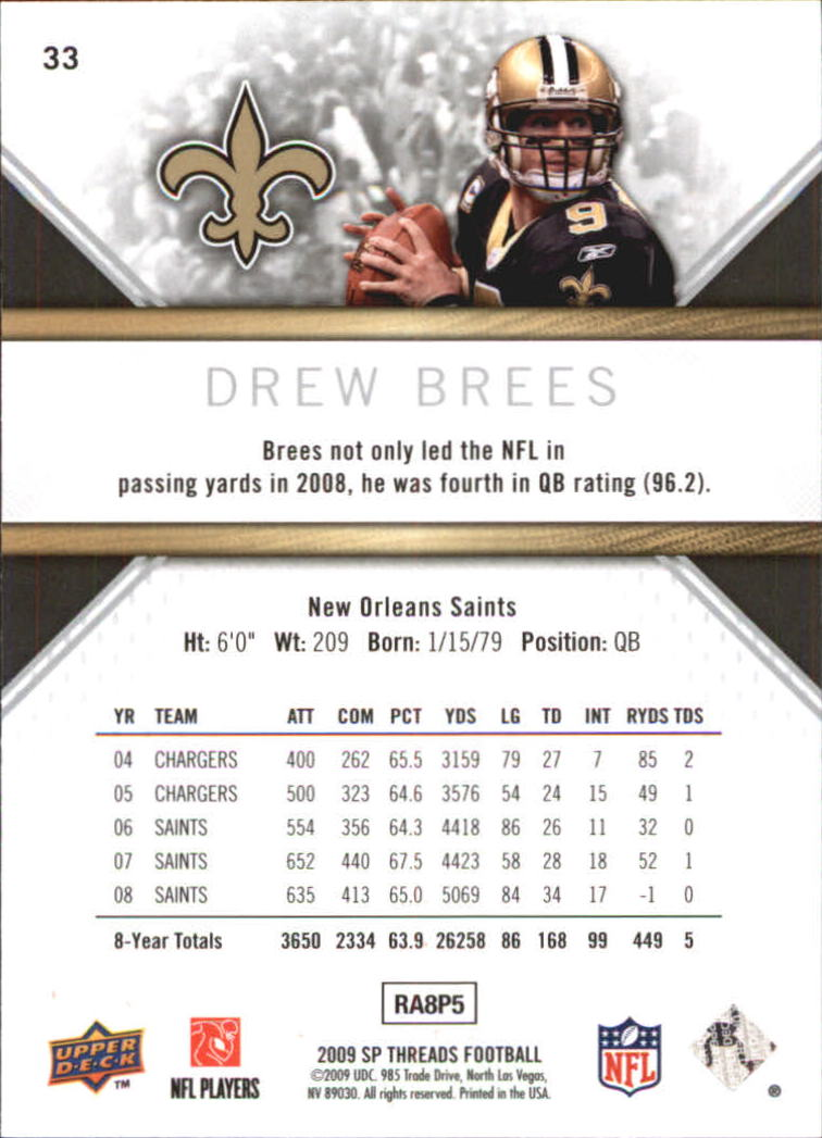 2009 SP Threads #33 Drew Brees back image