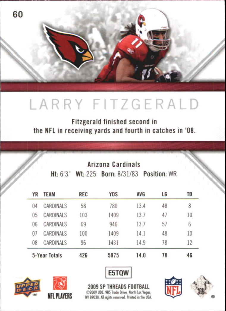 2009 SP Threads #60 Larry Fitzgerald back image