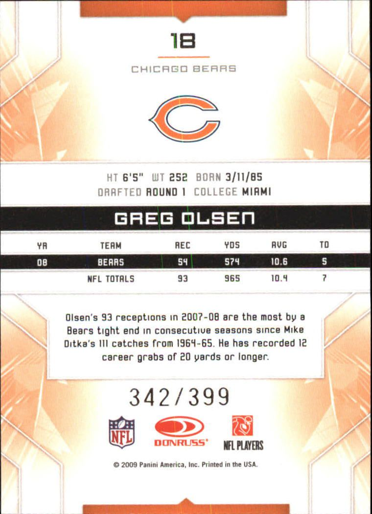 2009 Limited #18 Greg Olsen back image