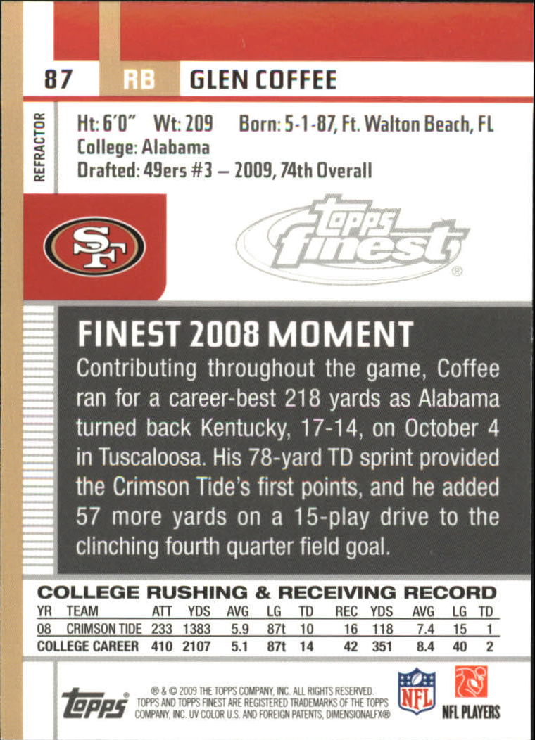 2009 Finest Pigskin Refractors #87 Glen Coffee back image