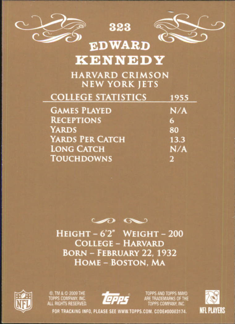 2009 Topps Mayo #323 Ted Kennedy back image