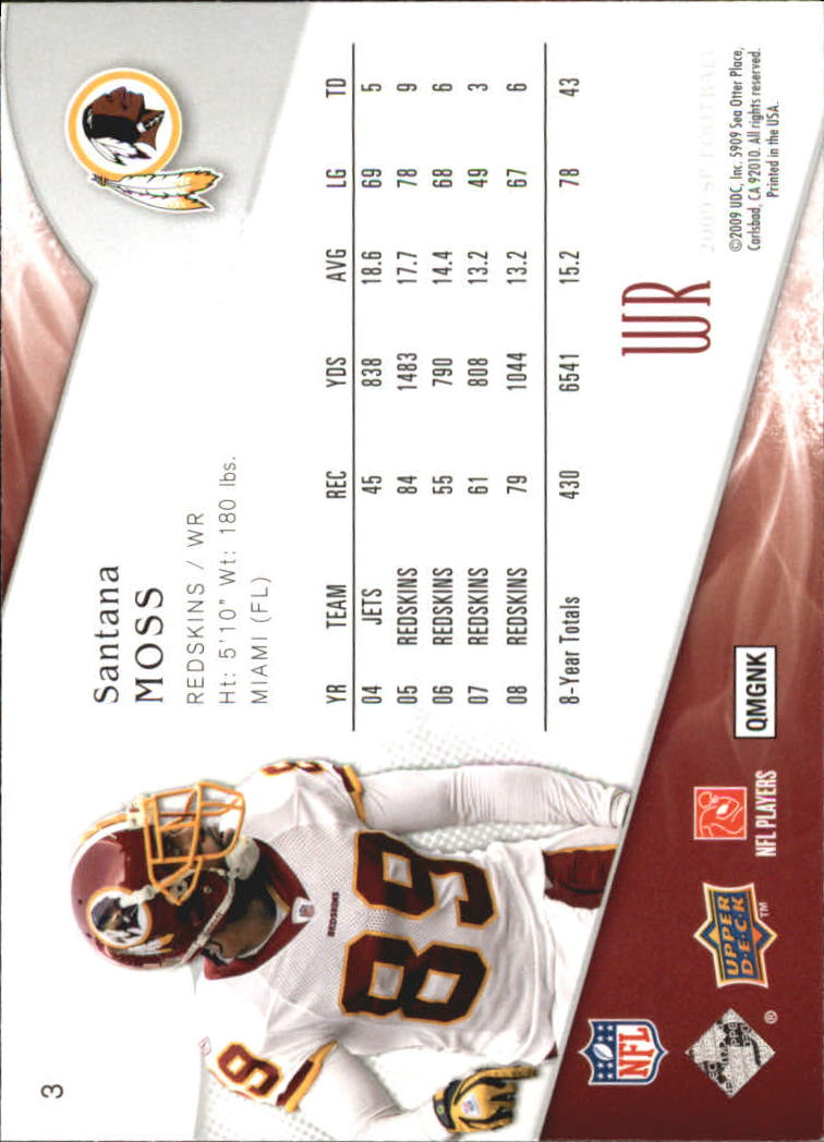 2009 SP Authentic Retail #3 Santana Moss back image