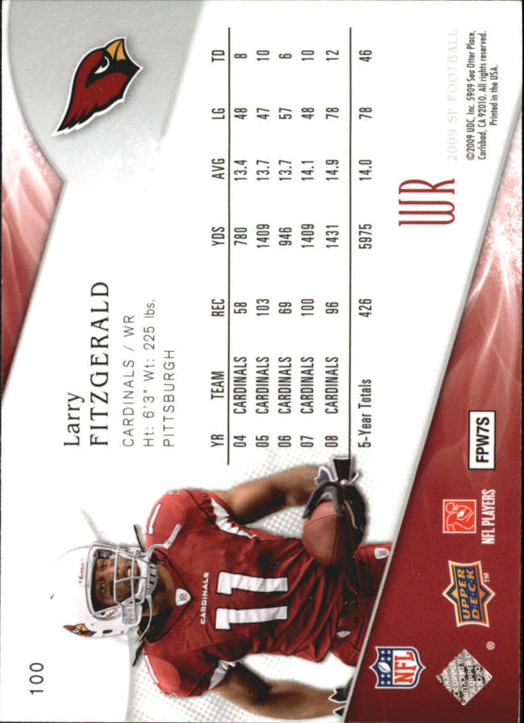 2009 SP Authentic Retail #100 Larry Fitzgerald back image