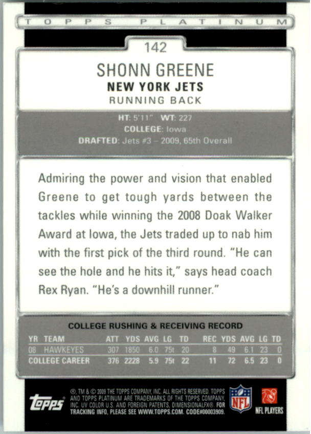 2009 Topps Platinum #142 Shonn Greene RC back image