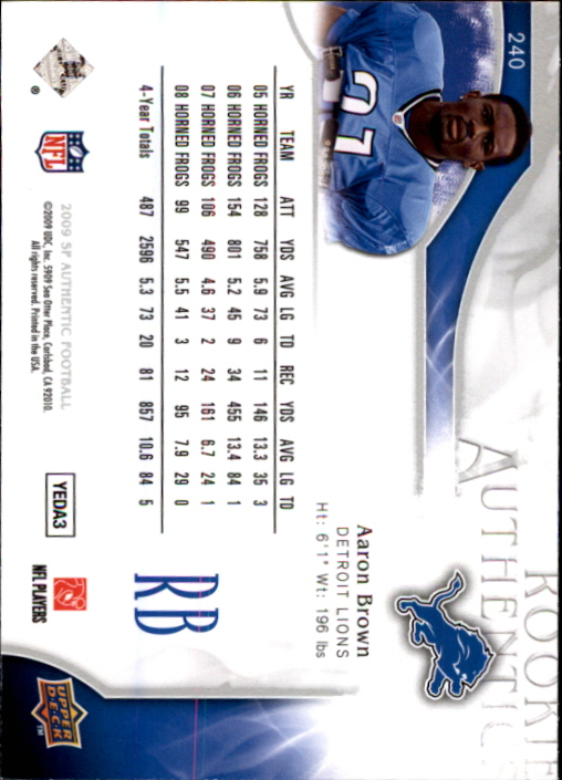2009 SP Authentic #240 Aaron Brown RC
