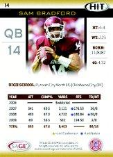2010 SAGE HIT #14 Sam Bradford DP back image