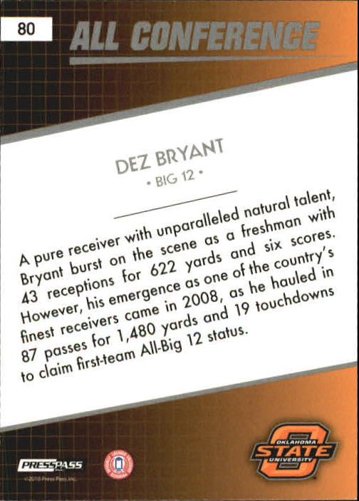 2010 Press Pass #80 Dez Bryant AC back image