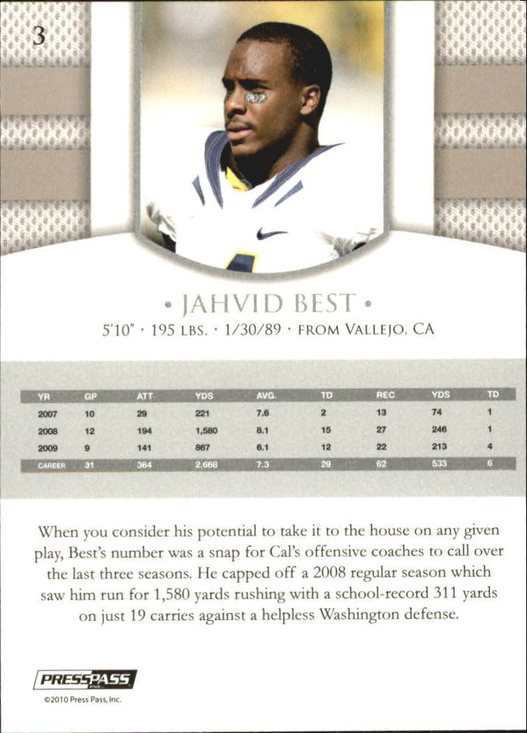 2010 Press Pass PE #3 Jahvid Best back image