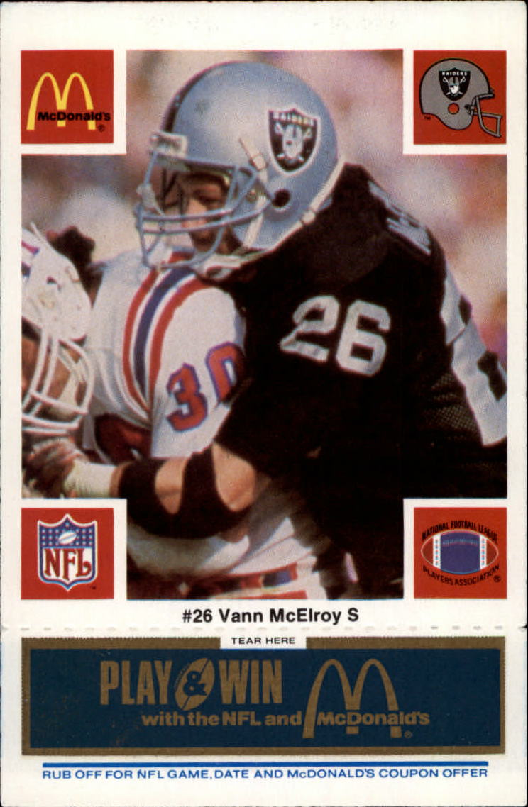 1986 McDonald's Raiders Blue Tab #26 Vann McElroy