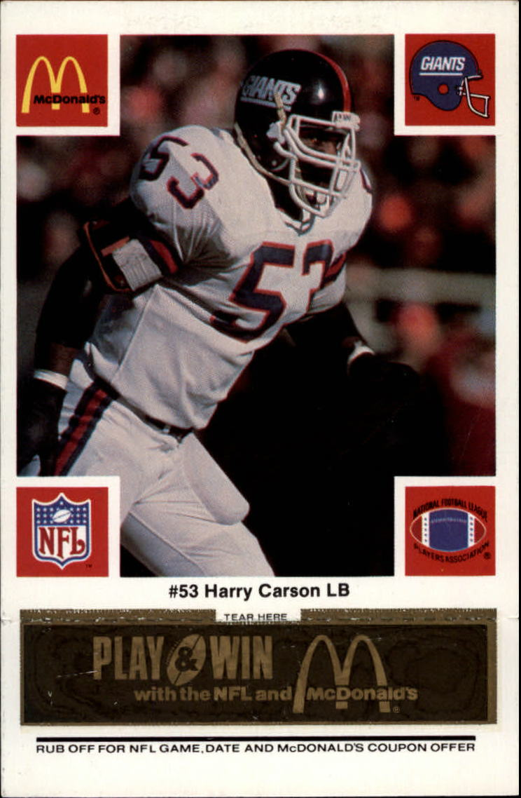 1986 McDonald's Giants Black Tab #53 Harry Carson