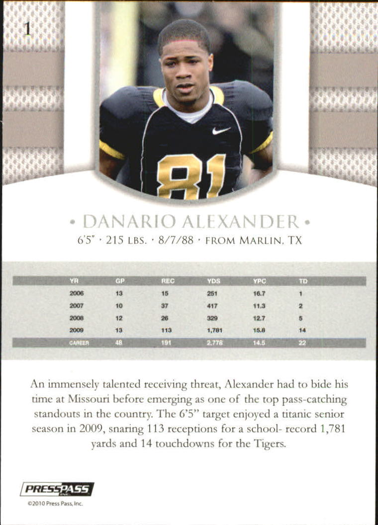 2010 Press Pass PE Blue #1 Danario Alexander