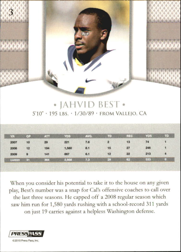 2010 Press Pass PE Blue #3 Jahvid Best