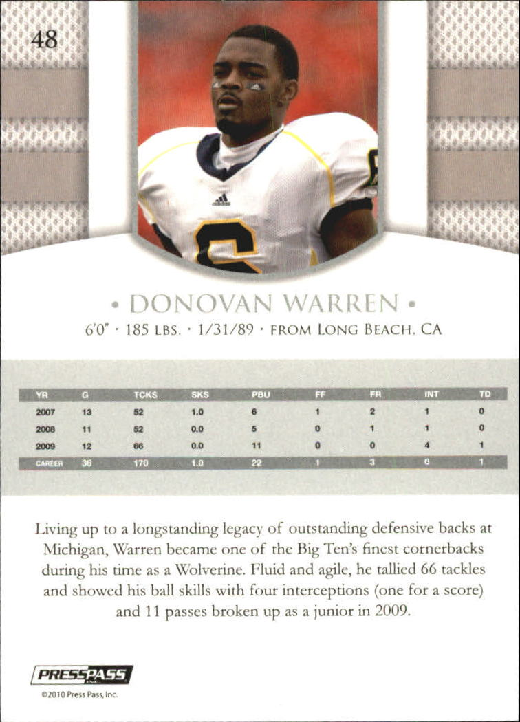 2010 Press Pass PE Blue #48 Donovan Warren