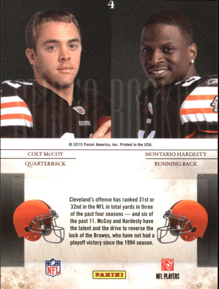2010 Rookies and Stars Studio Rookies Combos #4 Colt McCoy/Montario Hardesty back image