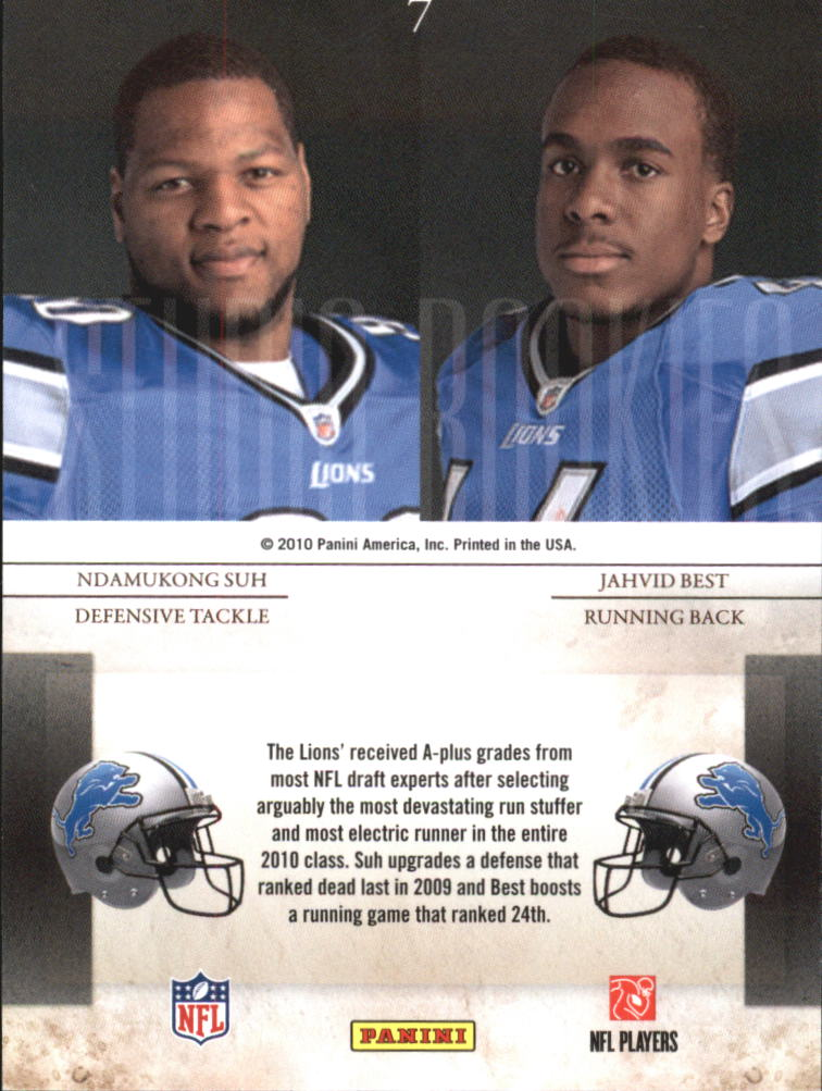 2010 Rookies and Stars Studio Rookies Combos #7 Ndamukong Suh/Jahvid Best back image