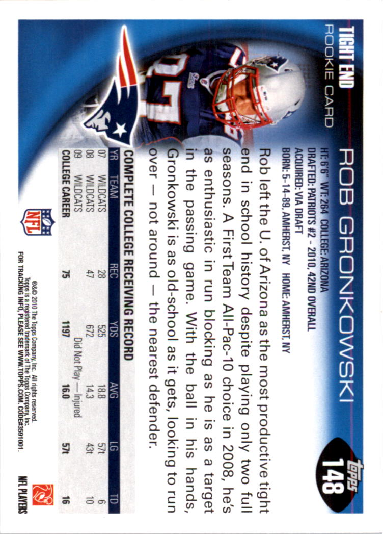 2010 Topps #148A Rob Gronkowski RC/Cutting to his right back image