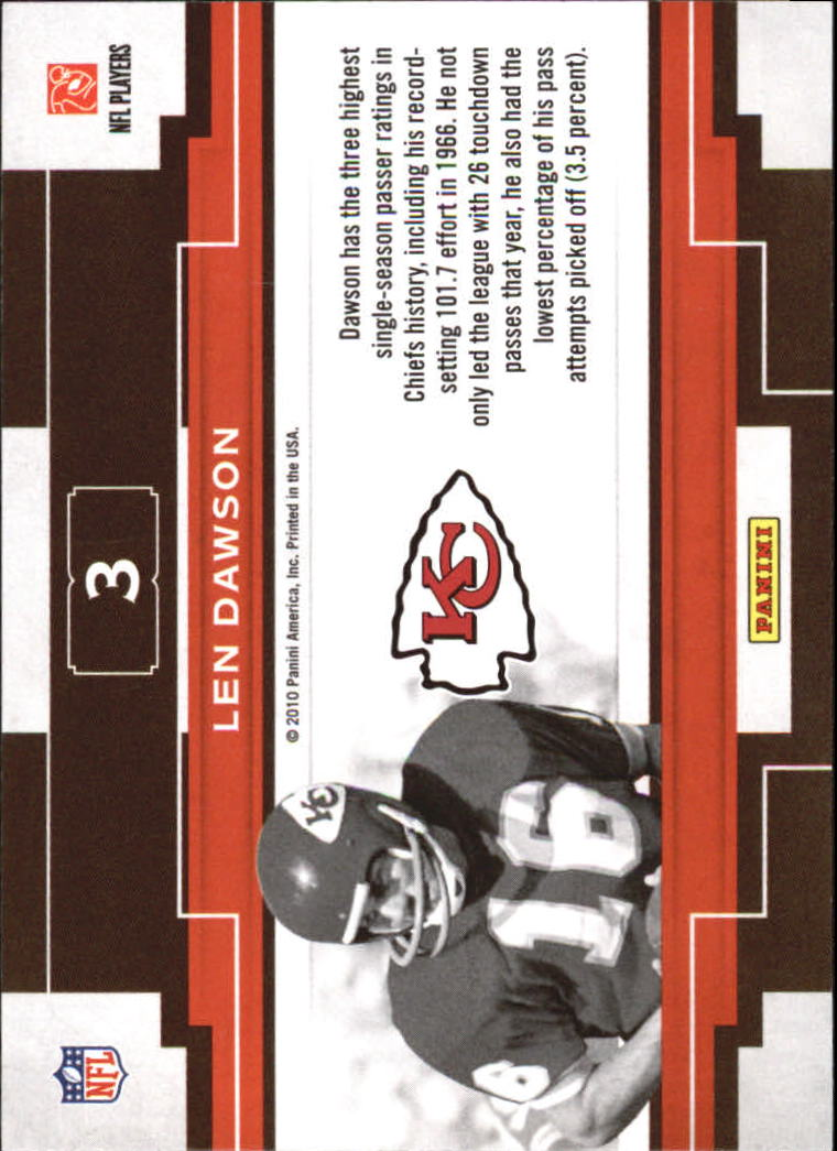 2010 Panini Threads Century Legends #3 Len Dawson back image