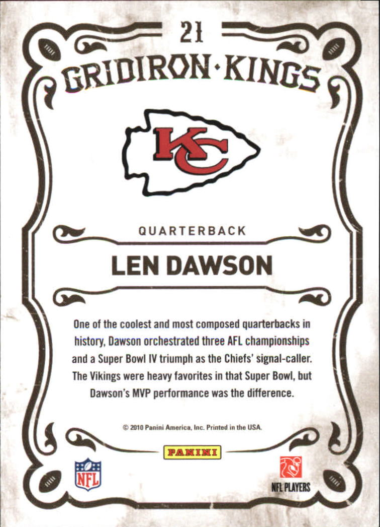 2010 Panini Threads Gridiron Kings #21 Len Dawson back image