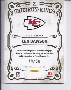 2010 Panini Threads Gridiron Kings Autographs #21 Len Dawson/50 back image