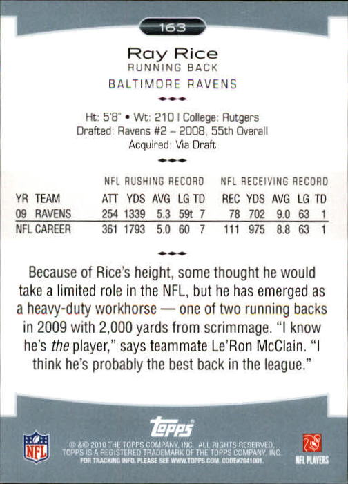 2010 Topps Platinum #163 Ray Rice back image