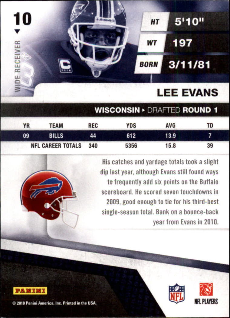 2010 Absolute Memorabilia Retail #10 Lee Evans back image