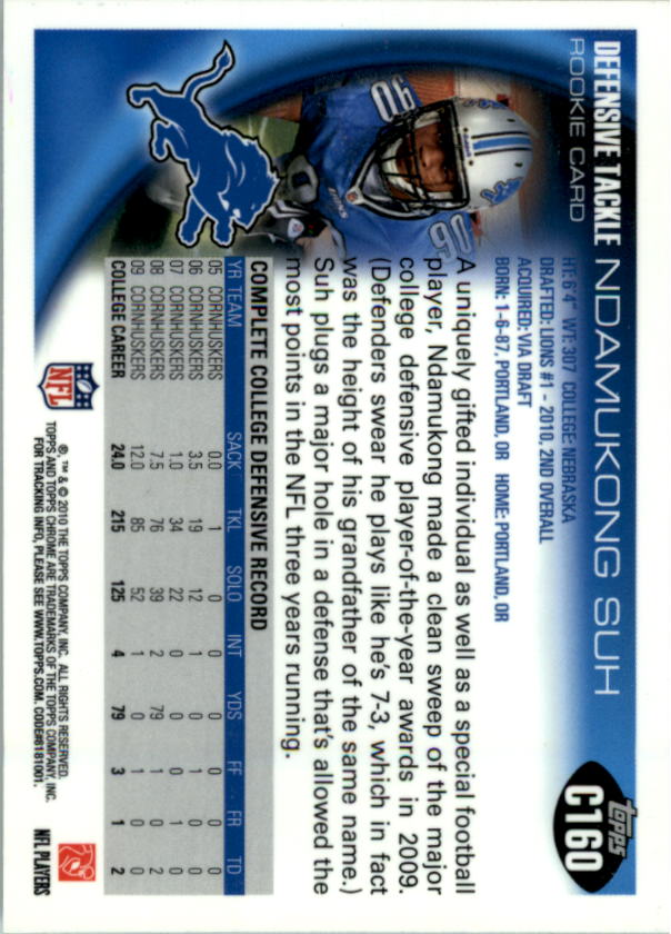 2010 Topps Chrome #C160A Ndamukong Suh RC back image