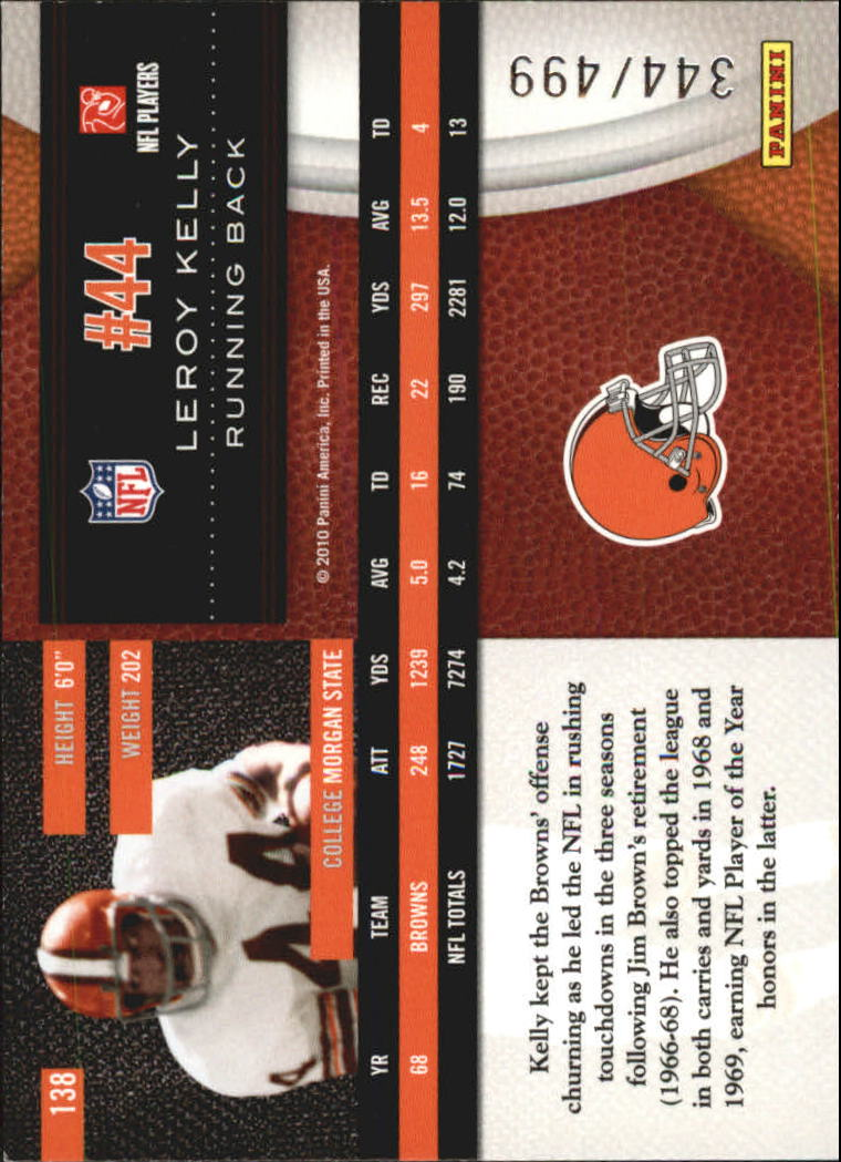 2010 Limited #138 Leroy Kelly back image