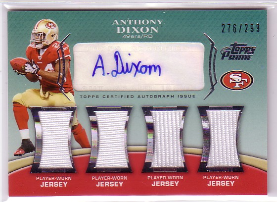 2010 Topps Prime Autographed Relics Level 5 #PL5AD Anthony Dixon/299