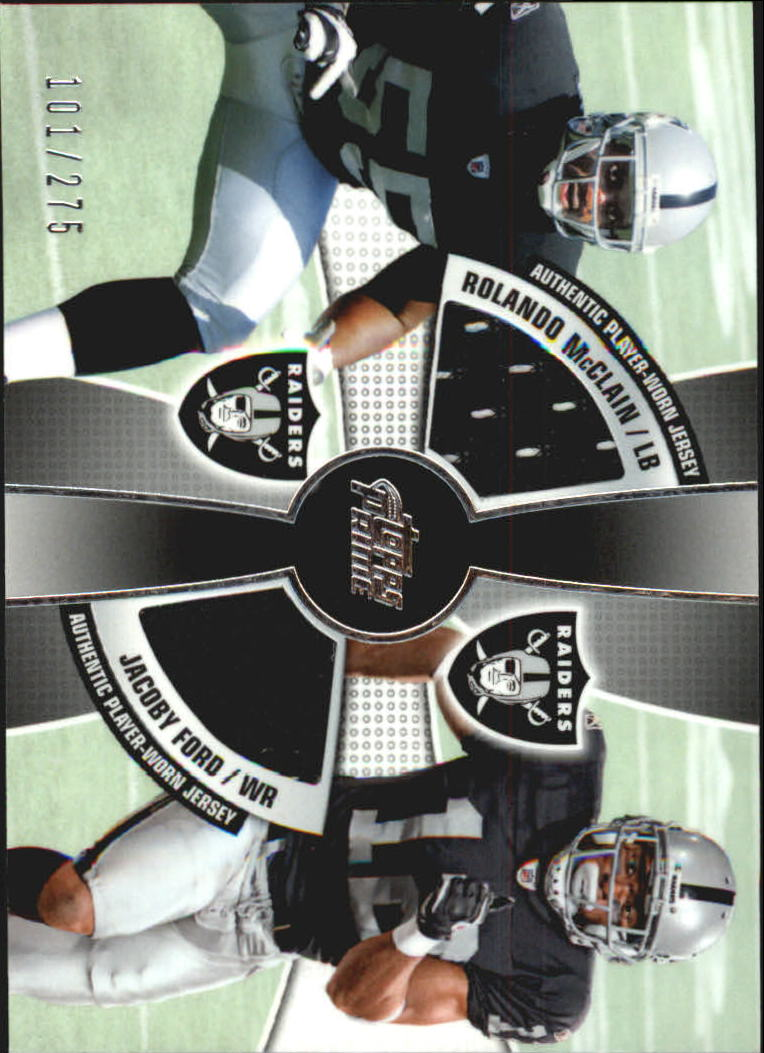 2010 Topps Prime 2nd Quarter Relics #MF Rolando McClain/275/Jacoby Ford