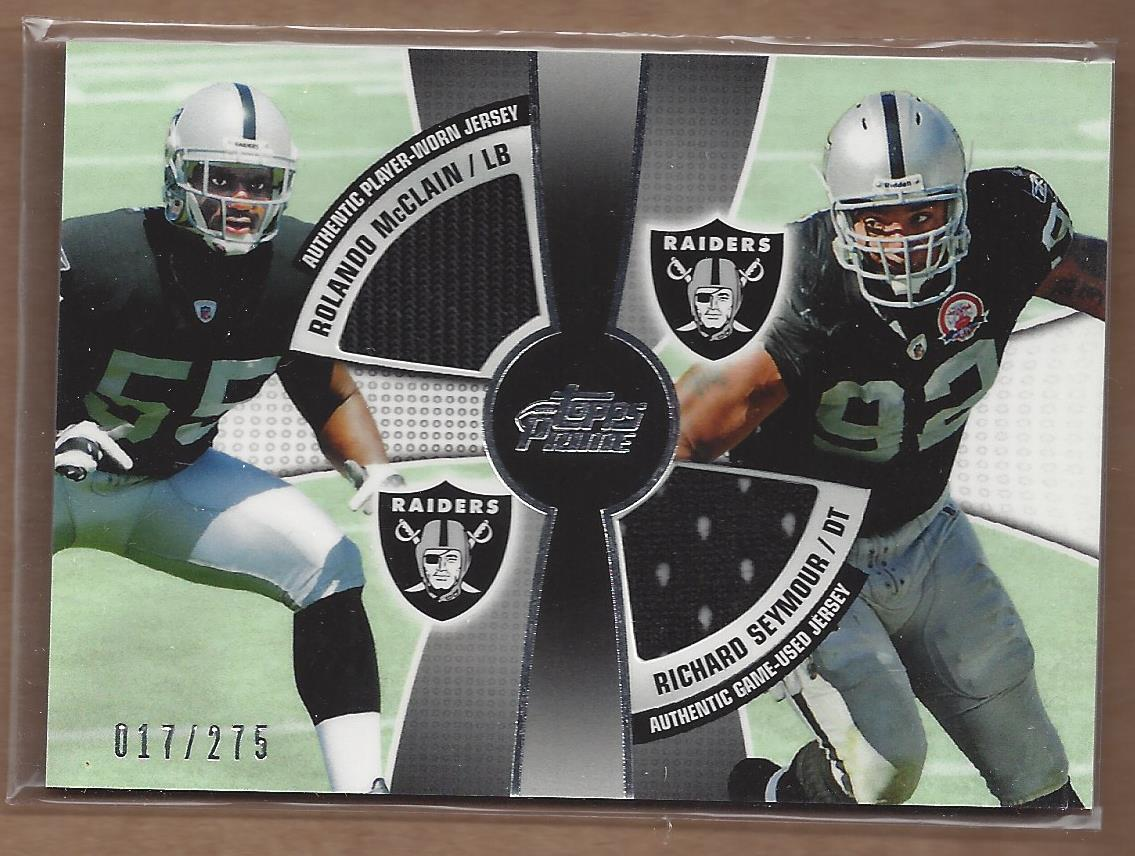 2010 Topps Prime 2nd Quarter Relics #MS Rolando McClain/275/Richard Seymour