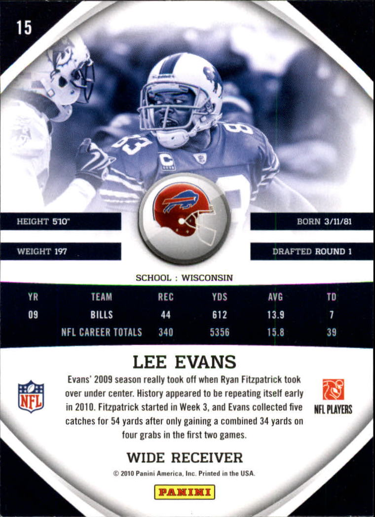 2010 Panini Gridiron Gear #15 Lee Evans back image