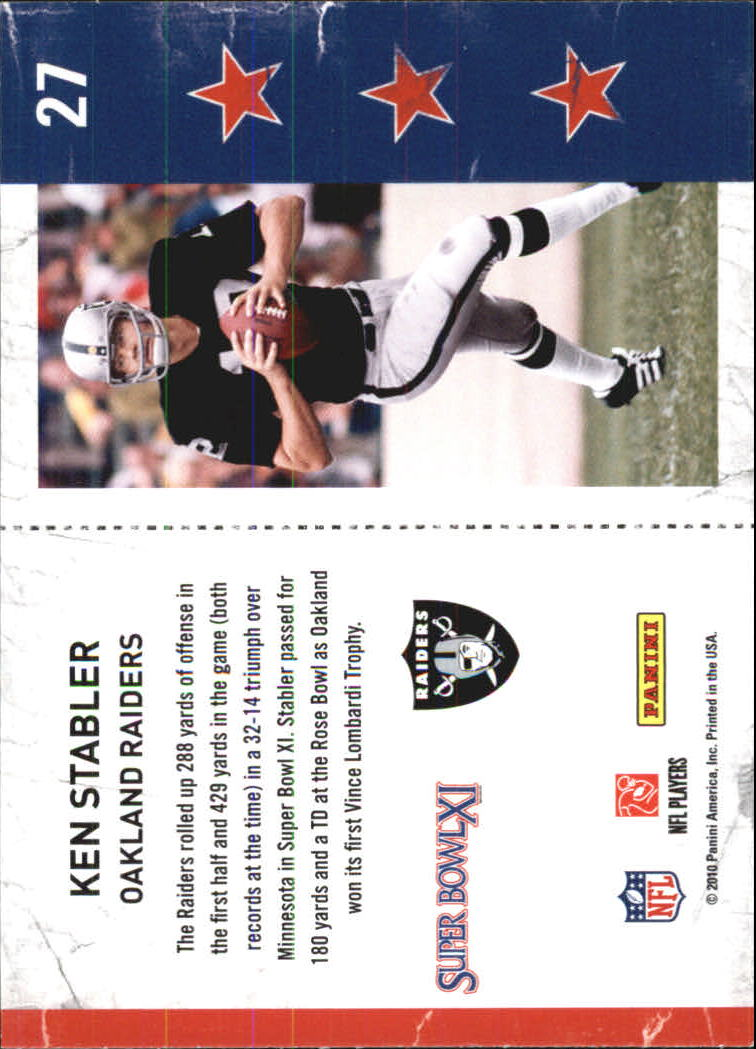 2010 Playoff Contenders Super Bowl Ticket #27 Ken Stabler back image
