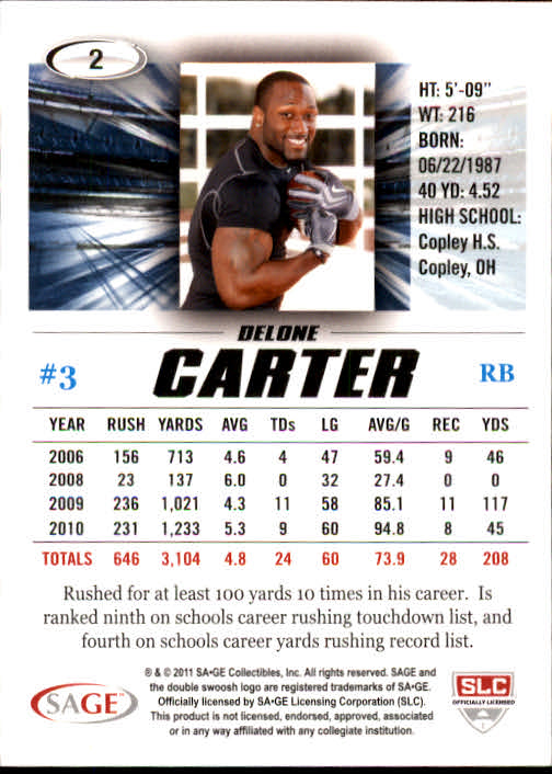2011 SAGE HIT #2 Delone Carter back image