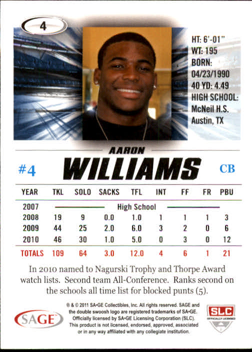 2011 SAGE HIT #4 Aaron Williams back image
