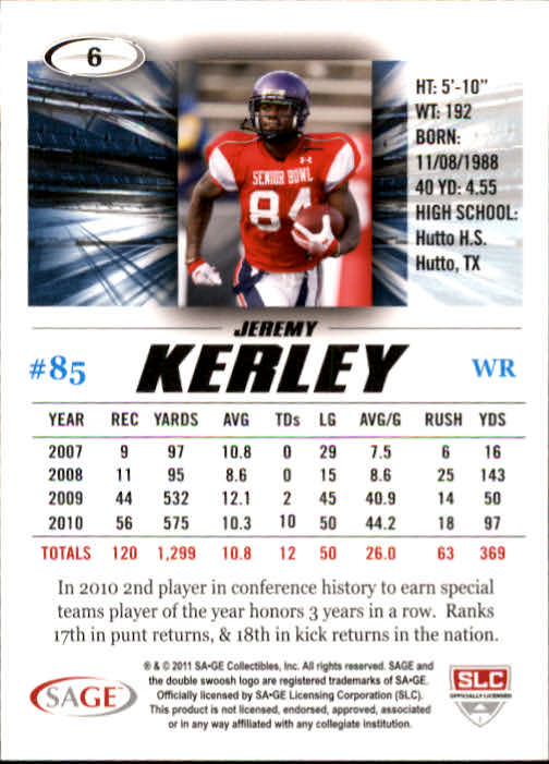 2011 SAGE HIT #6 Jeremy Kerley back image