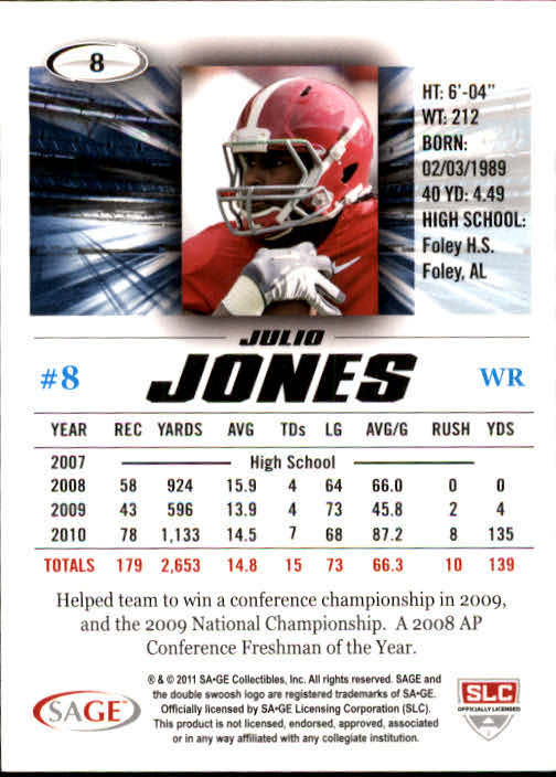 2011 SAGE HIT #8 Julio Jones back image