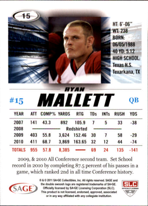 2011 SAGE HIT #15 Ryan Mallett back image