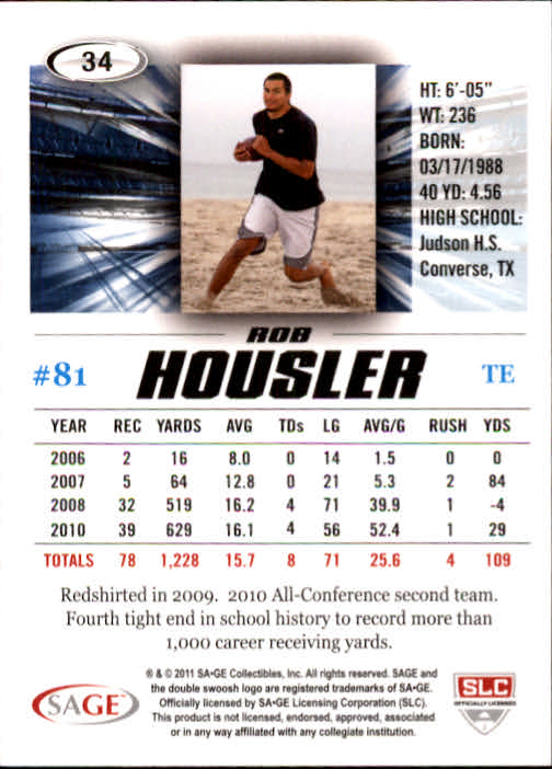2011 SAGE HIT #34 Rob Housler back image