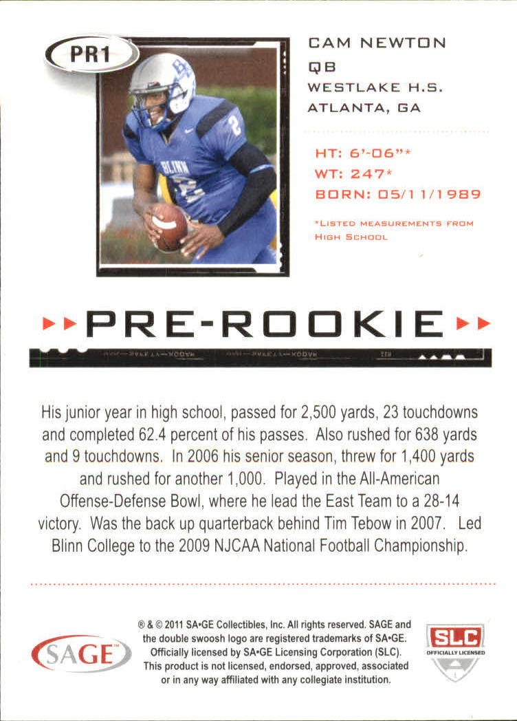2011 SAGE HIT Pre-Rookie #PR1 Cam Newton back image