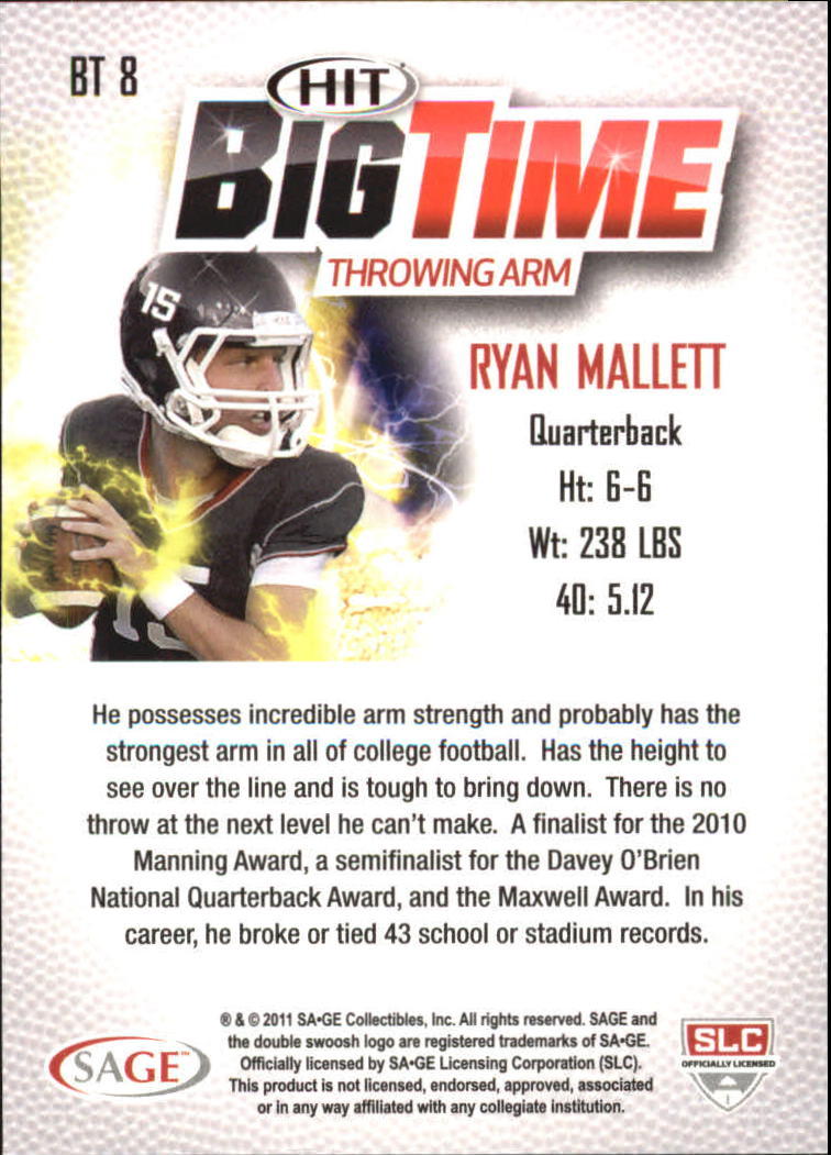 2011 SAGE HIT Big Time #B8 Ryan Mallett