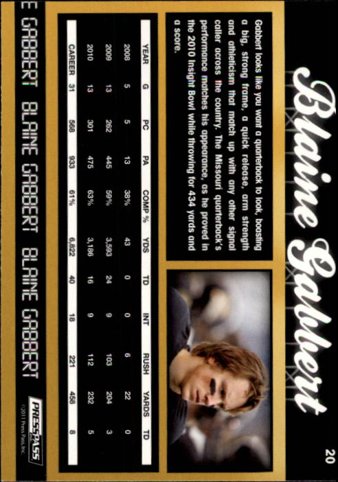 2011 Press Pass #20 Blaine Gabbert back image