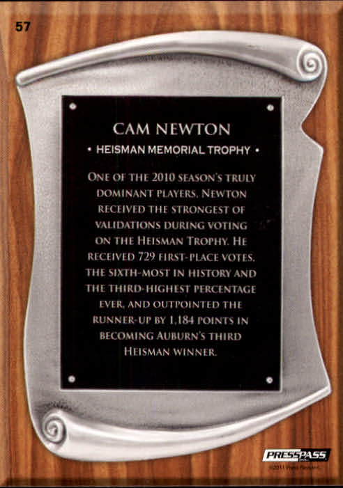 2011 Press Pass #57 Cam Newton TC back image