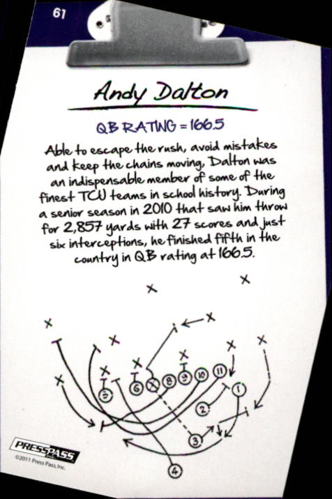 2011 Press Pass #61 Andy Dalton NL back image