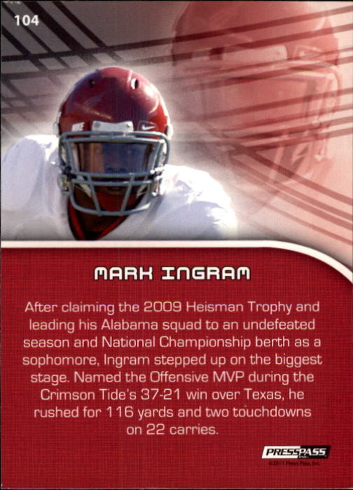 2011 Press Pass #104 Mark Ingram PP back image